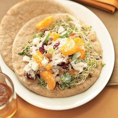 Fruited Tuna Salad on Pita (base is mayo and honey) it has tasty fruits and pecans in it! Yum!