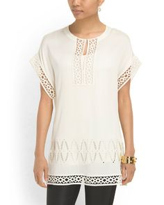 Check out high fashion trends on The Runway at Maxx! Fabulous embroidered tunic by Catherine Malandrino.