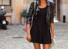 simple. black dress, black jacket