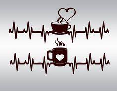 Heartbeat Strip coffee SVG Clipart Cut Files Silhouette Cameo