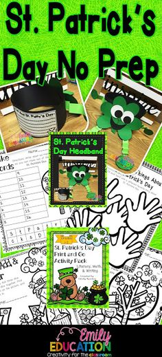 St Patricks Day NO PREP Crafts, printables, and more!