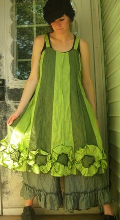 Green and lime green lightweight linen in a flower bottom dress, this is swingy and fun with pintucks, sewed together stripes, and flowers