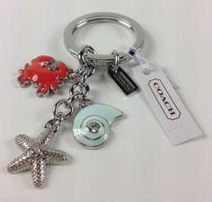 COACH Pave Crystal Beach Crab Starfish Sea Shell Silver Key Chain Fob Ring 62246