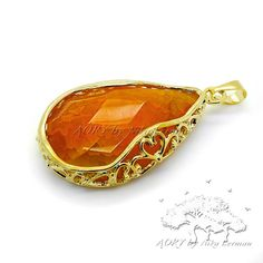 1 pcs Beautiful Natural Agate Pendant Gold Plated Large by AoryNL, $9.90