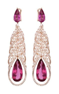 Chopard Red Carpet Collection earrings featuring pear-shaped ubellites surrounded by diamonds, set in rose gold (£POA).