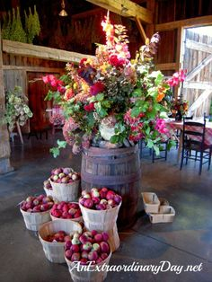 AnExtraordinaryDay.net {Day13}  31 Extraordinary Days {A Favorte Fall Stop ~ The Apple Barn}  Hurd Orchard Apple Barn Floral Arrangement