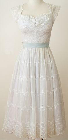 This is so beautiful! Vintage 1950s White Lace Eyelet Delicate Dress Shelf Bust Scoop Back |
