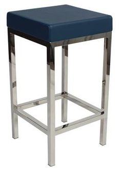 """Albany"" Stainless Steel Frame Backless Padded Bar Stool in Blue –  AU$119 - https://www.simplybarstools.com.au/products/albany-stainless-steel-frame-backless-padded-bar-stool-in-blue - Simply Bar Stools - steel, backless, fixed leg, bar stools. #Australia #Furniture"