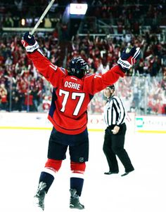 april 28, 2016. tj oshie of the washington capitals scores the overtime game-winner and completes his first nhl postseason hat trick.