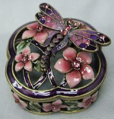 Dragonfly and Floral Trinket Box