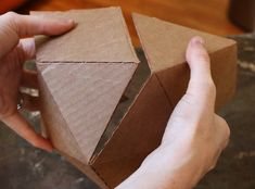 Geometric cardboard mold template for concrete projects. Concrete Casting, Concrete Molds, Concrete Crafts, Concrete Projects, Concrete Planters, Cardboard Sculpture, Diy Cardboard, Modern Bookends, Beton Diy