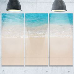 Serene White and Blue Waters - Large Seashore Metal Wall At - 36Wx28H