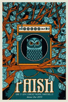 PHISH concert poster  at the Comcast Theatre- Hartford- Jun 17/18, 2010  hand made 3 color screen print   poster measures 16 inches x 24 inches   hand signed artist proof  artist: Robert Lee (Methane Studios)