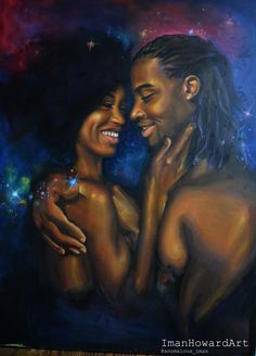 'One'  oil on Canvas Iman Howard #Black #African #couple #lovers