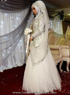 New Ideas Bridal Hijab Wedding Dresses Beautiful Bridal Hijab, Muslim Wedding Dresses, Muslim Brides, Wedding Hijab, Wedding Dresses For Girls, Bridal Wedding Dresses, Bridal Style, Muslim Girls, Islam Wedding