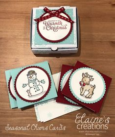 Elaine's Creations: Stampin' Up! Cute Seasonal Chums Christmas Card Set in mini pizza box Christmas Note, Christmas Craft Fair, Christmas Paper Crafts, Homemade Christmas Cards, Stampin Up Christmas, Christmas Cards To Make, Christmas Gift Tags, Holiday Cards, Christmas 2019