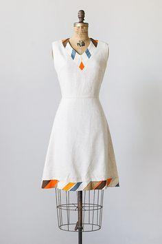 vintage 1960s linen striped collar hem dress . cute cute!