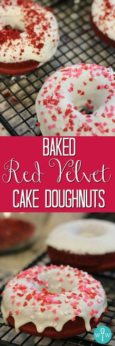 - Baked Red Velvet Cake Doughnuts Baked Red Velvet Cake Doughnuts – A tasty baked doughnut recipe! Red velvet cake doughnuts with cream cheese icing made easy by using a cake mix and canned frosting. Indulge in pure deliciousness without the guilt! Cupcakes Cool, Cake Mix Cupcakes, Cake Mix Desserts, Cake Mix Recipes, Dessert Recipes, Cake Mixes, Cake Cookies, Red Velvet Donuts, Red Velvet Cake Mix