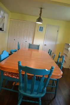 mismatched kitchen chairs need 2 more for my table...paint a bright color