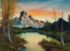 bob ross mountain at sunset paintings & bob ross mountain at ...