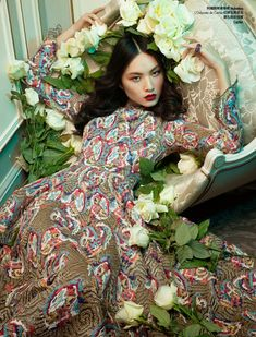 floral couture shoot4 Ling Yue in Floral Couture for Elle Hong Kong by Michèle Bloch Stuckens | May 2014 | cynthia reccord
