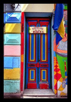 house in La Boca, Buenos Aires Entrance Doors, Doorway, Art Nouveau Arquitectura, When One Door Closes, Door Gate, World Of Color, Door Knockers, Closed Doors, Windows And Doors