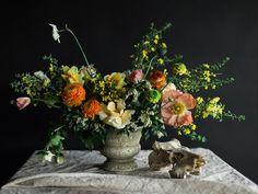 Benjamin Holtrop Photography; garden urn arrangement by Moss Floral/ Selva Floral