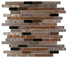Modern Glass Mosaic Tile Linear Copper for Kitchen Backsplash, Bathroom, and Feature Wall. Free Shipping. Sample swatch available.
