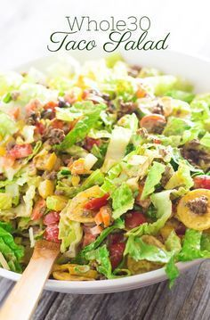 Taco Salad with Creamy Cilantro Dressing (whole30/df/cf) | http://www.worthcooking.net/taco-salad-creamy-cilantro-dressing/