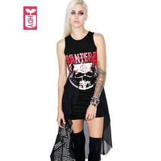 Punk Rock Roll Brand 2017 Skull Totem Summer Fashion Irregular Sleeveless Cotton Dresses Womens Splicing Voile Tight Dress #Affiliate
