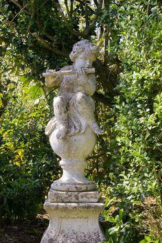 but this statue is cute! Garden Fountains, Garden Statues, Garden Sculpture, Dream Garden, Garden Art, Garden Design, Glass Garden, Victorian Gardens, Gothic Garden