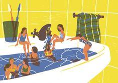Verano, piscina - Ilustración Marta Monteiro.