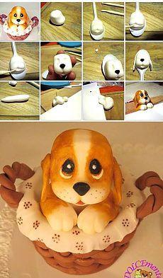 How sweet! Cute dog made of sugarpaste Zo schattig , dit hondje van fondant Fondant Dog, Fondant Toppers, Fondant Cakes, Cake Topper Tutorial, Fondant Tutorial, Fondant Animals Tutorial, Cake Decorating Supplies, Cake Decorating Tutorials, Deco Cupcake