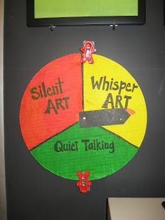Jamestown Elementary Art Blog: Around our classroom…The Wheel of Art, a tool to manage the volume in the art room. Quiet, whisper, and silent art.