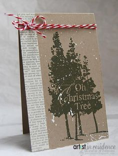 """Brown Kraft """"O Christmas Tree"""" Card...with baker's twine...Tenia Sanders-Nelson - Cards and Paper Crafts at Splitcoaststampers."""