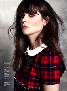 Zooey Deschanel wearing Saint Laurent from the fall 2013 Collection for Marie Claire US September 2013 she pulls it off so well