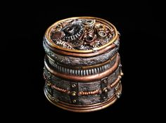Steampunk stash jar loaded with details and by TheStacheWorks, $395.00