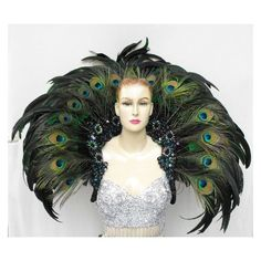 EVIA Peacock Feather Cabaret Dancer Headdress Backpack ❤ liked on Polyvore featuring bags, backpacks, knapsack bag, peacock bag, backpack bags, feather bag and rucksack bags