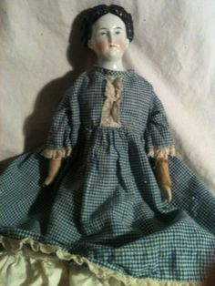 "Antique 1840-1850 20"" Jenny Lind China Head Doll Kid Leather Body Original Cloth"