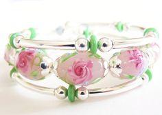 Lampworked Glass, Silver Memory Wire Bracelet, Handmade Jewelry