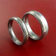 Matching Set 14k White Gold Damascus Steel Rings Wedding Bands