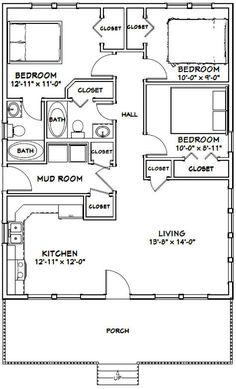 3 Bedroom Floor Plan, House Plans 3 Bedroom, Cabin House Plans, Tiny House 3 Bedroom, Small Cabin Plans, Small Cabins, Bedroom Small, The Plan, How To Plan
