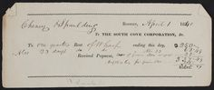 Rent check for The South Cove Corporation, Dr., Boston, Mass., dated April 1, 1840   Ephemera collection (EP001) -- Historic New England