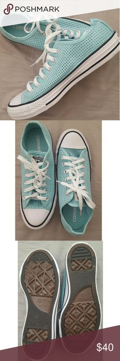 Light Blue Converse. I have literally never worn these, they are so freaking cute but are way too big for me. Converse Shoes Sneakers