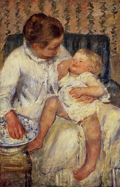 The Child's Bath (Mary Cassatt - 1880). I love how the baby is just sprawled out on her mother's lap, so comfortable.