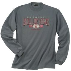 Pro Football Hall of Fame Long Sleeve Charcoal Distressed Graphic T-Shirt. Click to order! - $24.99