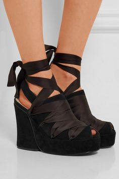2ea6a54e951 Ellery - Despina satin-trimmed suede wedge sandals