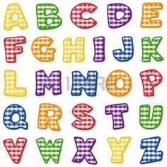 Alfabeto, de dise�o original en color rojo, azul, verde, dorado, naranja y p�rpura control de la guinga photo