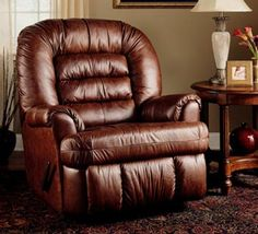 Ashley Oversized Rocker Recliner in Rich Brown Leather-match Finish