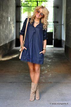 I just love the denim dress & boots!!